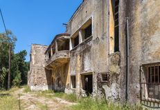 Dilapidated hospital. Lost Place, Eleousa, Rhodes Stock Photo