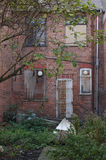 Dilapidated House 01. The rear of an abandoned, old, decrepit and dilapidated  house in Shotton, North Wales Stock Photos