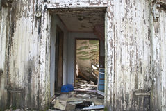 Dilapidated house, main entrance Stock Photos
