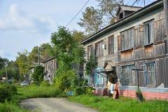 Dilapidated houten huisvesting Royalty-vrije Stock Foto's