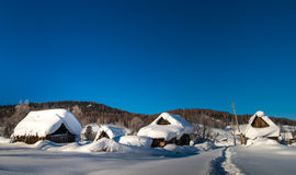 Dilapidated hut in winter Stock Image