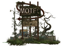 Dilapidated motel sign. Overgrown dilapidated motel sign in run down area with car in 3D royalty free stock images