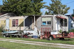 Dilapidated Trailer in Louisiana. A dilapidated old trailer at Golden Meadow, Louisiana stock photography
