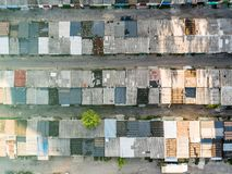 Dilapidated one story buildings, depressed area, topview Stock Photo