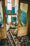 Dilapidated passage in school of Pripyat Stock Image