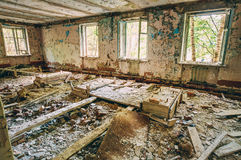 Dilapidated passage in school of Pripyat Stock Image