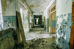 Dilapidated passage in school of Pripyat. Chernobyl Disaster Stock Photos
