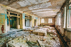 Dilapidated passage in school of Pripyat. Chernobyl Disaster Stock Image