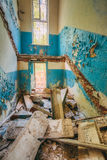 Dilapidated passage in school of Pripyat. Chernobyl Disaster Royalty Free Stock Image