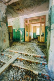 Dilapidated passage in school of Pripyat. Chernobyl Disaster Royalty Free Stock Photography