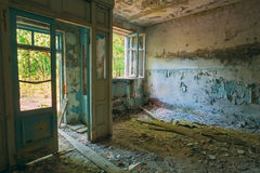 Dilapidated passage in school of Pripyat. Chernobyl Disaster Stock Photo