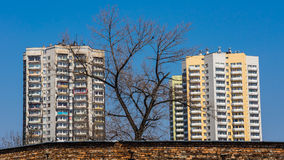 Dilapidated and renovated residential blocks Royalty Free Stock Images