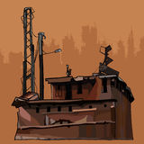 Dilapidated rusty old corroded metal construction. Isolated vector illustration