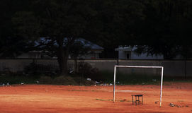 Dilapidated soccer field Royalty Free Stock Photo