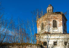 Dilapidated temple in the village Odelewo. Royalty Free Stock Photo