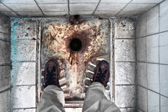 Dilapidated Turkish toilet Royalty Free Stock Photos