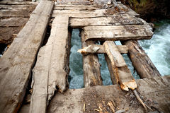 Dilapidated wooden bridge Royalty Free Stock Photography