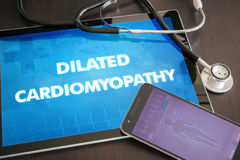 Dilated cardiomyopathy (heart disorder) diagnosis medical concept on tablet screen with stethoscope.  stock image
