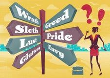 Dilema do cargo de sinal dos pecados mortais de Contemplates 7 da mulher de negócios ilustração royalty free