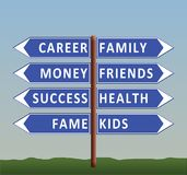 Dilemma of life: career or family stock illustration