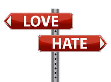 Dilemma Love and Hate sign illustration design Royalty Free Stock Photography