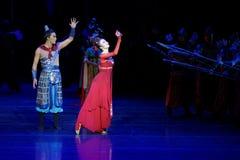 dilemma-vier handeling ` belemmerde inklaring ` - Epische de Zijdeprinses ` van het dansdrama ` royalty-vrije stock foto