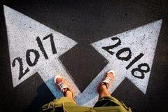 Dilemmakonzept neues Jahr Stockfoto