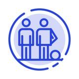 Dilettante, palla, calcio, amici, linea punteggiata blu linea icona di calcio illustrazione vettoriale