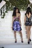 Dilia oknówki chodzą pas startowego przy losu angeles Perla pokazem mody Fotografia Royalty Free