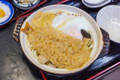 Shrimp tempura udon with egg - Japanese food. Delicious shrimp tempura udon with egg - Japanese food royalty free stock photos