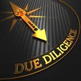 Diligence - aiguille d'or de boussole Photo stock