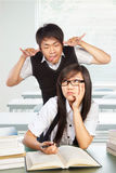Diligent and bad students Stock Image