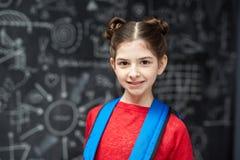 Diligent Little Student Posing at Blackboard Stock Image