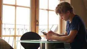 Diligent student doing homework stock footage