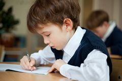 Diligent student sitting at desk, classroom Royalty Free Stock Photography