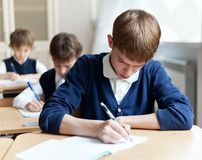 Diligent student sitting at desk, classroom Royalty Free Stock Photos