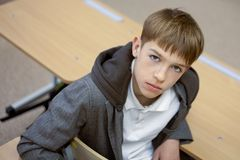 Diligent student sitting at desk, classroom Royalty Free Stock Photo