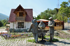 Dilijan, Armenia, September, 11, 2014. Monument to the heroes of the film Mimino Dilijan Stock Images