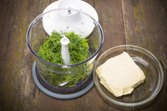 Dill in a blender Royalty Free Stock Image