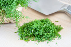 Dill chopping Royalty Free Stock Image