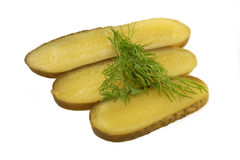 Dill on Gherkin Slices Stock Photos