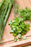 Dill, parsley on chopping board Stock Images