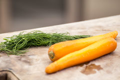 Dill and peeled carrot Royalty Free Stock Images