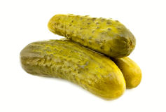 Dill pickle. Three dill pickle on white background Royalty Free Stock Photos