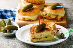 Dill pickle bacon grilled cheese. 1. selective focus Stock Images