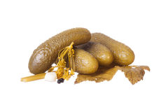 Dill pickles. On white background Royalty Free Stock Photography