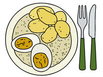 Dill sauce. Funny hand drawing of a dill sauce with egg and potatoes Royalty Free Stock Photography
