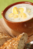 Dill soup with egg Stock Image