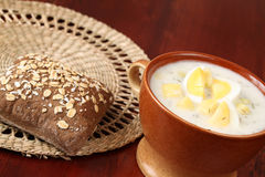 Dill soup with egg Royalty Free Stock Photography