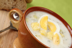 Dill soup with egg Stock Images